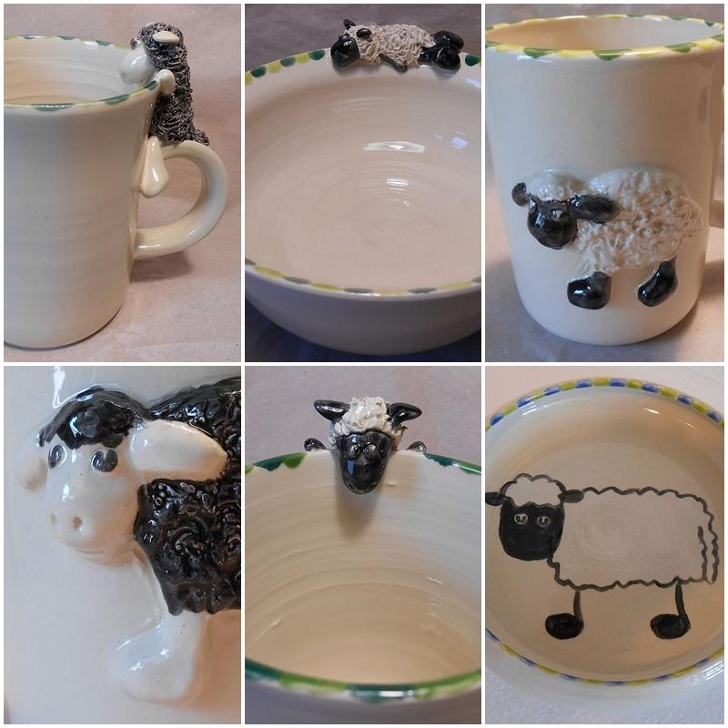 Tassen, Schalen und Kinderteller mit Schafmotiven